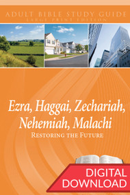 Digital large print Bible study with devotional commentary on 14 lessons from the Books of Ezra, Haggai, Zechariah, Nehemiah, and Malachi. PDF; 277 pages.