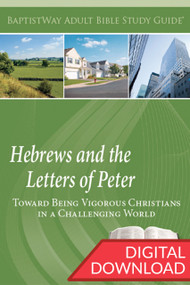 Digital Bible study on Hebrews and 1st and 2nd Peter. Complete with devotional Bible commentary and reflection questions on each of the 7 lessons from Hebrews and 6 lessons from 1-2 Peter. PDF; 149 pages.
