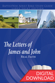 "Digital large print Bible study on The Letters of James and John deal with the question of ""What is real faith?"" 6 lessons from James and 7 lessons from 1-2 John. PDF; 203 Pages."
