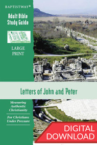 Digital large print Bible study on the Letters of John (6 lessons) and Peter (7 lessons). PDF; 227 pages.
