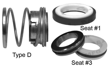 Pump Seal, Shaft Size 1.000, 1.812 OD Seal Head, Type D, 1.625 OD Mating Ring, BCFKF.