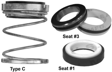 Pump Seal, Shaft Size - 0.625, 1.062 OD Seal Head, Type C, 1.250 OD Mating Ring, BCFKF.