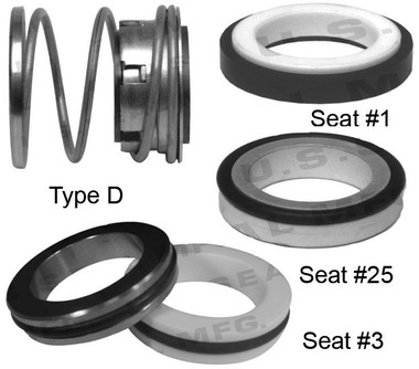 Pump Seal, Shaft Size 1.250, 2.000 OD Seal Head, Type D, 1.765 OD Mating Ring, BCFJF.