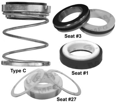 Pump Seal, Shaft Size 1.000, 1.687 OD Seal Head, Type C, 1.625 OD Mating Ring, BCFJF