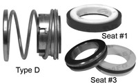 Pump Seal, Shaft Size 1.000, 1.812 OD Seal Head, Type D, 1.625 OD Mating Ring, BCFKF