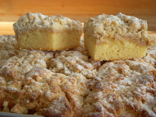 If you are looking for an Old Fashioned Crumb Cake, You have found it!  We start with a moist all butter pound cake on the bottom and add a thick layer of Extra Large Delicious Crumbs on top!  This item is one of our top sellers.  Available in 2 sizes- 12 piece cake and 24 piece cake.  Crumb Cake can be frozen.