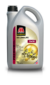 Millers Oils EE Longlife 5w30 Fully Synthetic Longlife engine oil.  Part Number 7877.  Suitable for use in petrol and diesel engines meeting Euro IV/V emissions standards requiring ACEA C3 specification.