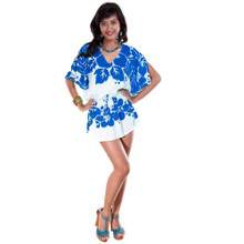 Triple Lei Blue/White Cover-Up Short Dress