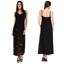 Bamboo Black Hawaiian Style Long Dress