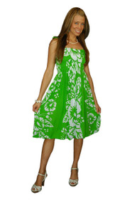 7564627ae4 Sundress Tube Dress Hibiscus Design Lime Green White
