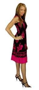 Sundress/Tube Dress Hibiscus Design Black/Pink