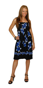 be58988a64 Sundress Tube Dress Plumeria Design Black Blue