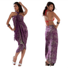 Abstract Swirl Pattern Sarong in Purple