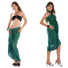 Abstract Leaf Pattern Sarong in Green