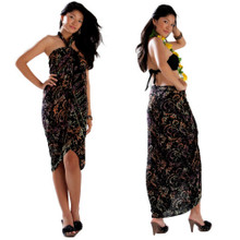Abstract Leaf Sarong in Black
