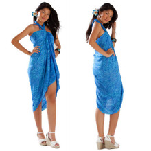 Abstract Floral Sarong in Light Blue