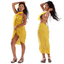 Tropical Bamboo Floral Sarong in Yellow