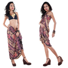 Sarong With Traditional Motif Purple - Parang Rusak Style