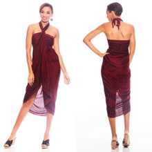 "Celtic Sarong, ""Unicorn"" Deep Burgundy"