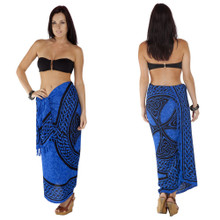 "Celtic Sarong, ""Celtic Cross And Circle"" Blue"