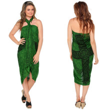 Green Celtic Cross Sarong
