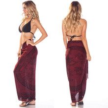 "Celtic Sarong, ""Celtic Cross 1"" Burgundy"