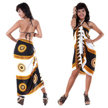 Abstract Tiki Sarong in Black/White Brown