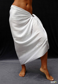 Embroidered Sarong in White