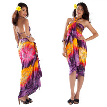 Embroidered Tie Dye Sarong in Purple/Yellow