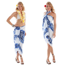 3 Row Floral Sarong in Royal Blue/White