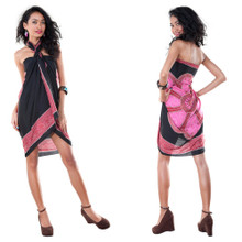 Lotus Floral Sarong in Pink/Black