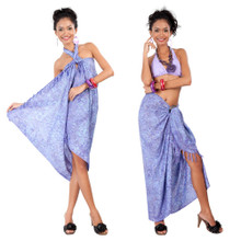 Abstract Floral Leaf Sarong in Lavender