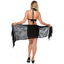Embroidered Half Sarong in Black