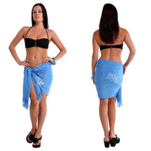 Hibiscus Half Sarong in Light Blue
