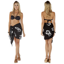 Hibiscus Half Sarong in Black/White