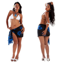 "Hibiscus Half Sarong ""Royal Blue / Black"""