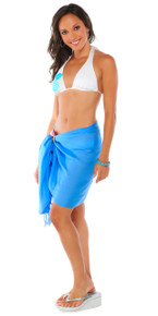 Half Sarong / Mini Sarong Pareo in Light Blue FRINGELESS