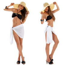 Half Sarong / Mini Sarong Pareo in White FRINGELESS
