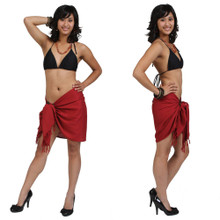Solid Colored Half Sarong in Red