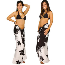 Hibiscus Sarong in Black / White FWS-S-HI-34