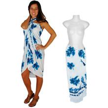 "Hibiscus Sarong ""Turquoise / Blue / White"" - HI-45"
