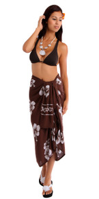 Hibiscus Flower Sarong in Brown/White