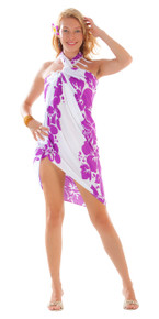 Three Leis Sarong in Light Purple/White