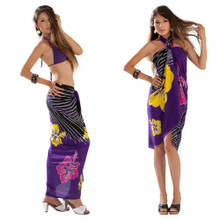 Multi Color Hibiscus Sarong in Purple