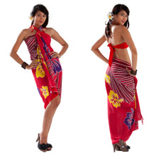 Multi Color Hibiscus Sarong in Red