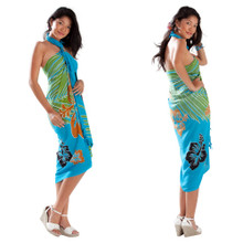 Multi Color Hibiscus Sarong in Turquoise