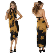 Split Color Hibiscus Flower Sarong in Brown/Black