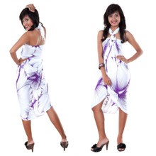 Big Hibiscus Floral Sarong in White/Purple