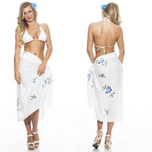 Hand Painted Floral Sarong in White