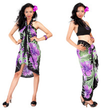 Hawaiian Floral Sarong in Purple/Black